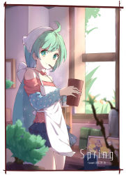 1girl 2016 ahoge alternate_hairstyle apron bangs bare_shoulders blue_skirt blurry bonsai border bow box character_request choker cowboy_shot depth_of_field english flat_chest frame gift gift_box green_eyes green_hair hair_ornament hatsune_miku headdress highres holding indoors layered_skirt light_particles long_hair long_sleeves looking_at_viewer low_ponytail miniskirt mouth_hold off_shoulder photo_(object) plant polka_dot potted_plant red_bow shelf skirt smile solo spring_(season) very_long_hair vocaloid wall white_apron window zhayin-san