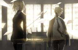 1boy 1girl absurdres aqua_eyes black_legwear black_skirt blonde_hair brother_and_sister commentary_request formal hair_ornament hair_ribbon hairclip highres indoors kagamine_len kagamine_rin monochrome necktie pant_suit ribbon saihate_(artist) short_hair siblings skirt skirt_suit suit thighhighs twins vocaloid window
