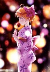 1girl absurdres candy_apple domotolain gekkan_shoujo_nozaki-kun highres japanese_clothes kimono sakura_chiyo solo translation_request yukata