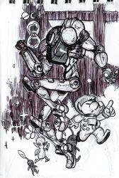 1boy 1girl alex_ahad arm_cannon crossover helmet highres marker_(medium) monochrome nintendo olimar pikmin pikmin_(creature) pointy_ears samus_aran spacesuit super_smash_bros. traditional_media varia_suit weapon