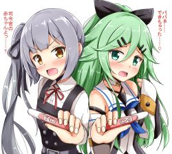 2girls aikawa_ryou blush breasts brown_eyes green_eyes green_hair grey_hair hair_ribbon highres kantai_collection kasumi_(kantai_collection) long_hair looking_at_viewer military military_uniform multiple_girls open_mouth pregnancy_test ribbon school_uniform side_ponytail translation_request uniform yamakaze_(kantai_collection)