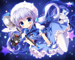 1girl :o anko_(gochuumon_wa_usagi_desuka?) blue_eyes blue_hair blush bow brooch bunny gloves gochuumon_wa_usagi_desu_ka? hair_ornament hairclip jewelry kafuu_chino long_hair looking_at_viewer low_twintails open_mouth pantyhose puffy_sleeves saji-wata sitting spoon star tippy_(gochuumon_wa_usagi_desuka?) twintails white_legwear