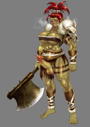 1girl absurdres axe barefoot breasts breath censored cleavage earrings erection flush fur futanari green_skin highres huge_breasts jewelry lips mosaic_censoring muscle nbo open_mouth orc original penis pointy_ears red_hair scar skull solo tongue tongue_out tubetop weapon