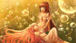 2girls akemi_homura bow bubble flower hair_bow hair_ribbon kaname_madoka lap_pillow mahou_shoujo_madoka_magica multiple_girls ribbon seailo ultimate_madoka yuri