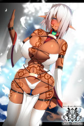 1girl absurdres bare_shoulders breasts cleavage dark_skin detached_sleeves hair_over_one_eye highres huge_breasts md5_mismatch navel original pink_eyes pixiv_fantasia pixiv_fantasia_t pointy_ears revealing_clothes silver_hair skindentation smile solo souma_(ordures) tattoo thighhighs white_legwear wide_sleeves
