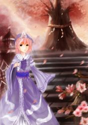 1girl arm_garter aumcry building cherry_blossoms fan folding_fan hands_in_sleeves highres japanese_clothes kimono looking_at_viewer mob_cap outdoors parted_lips petals pink_eyes pink_hair rope saigyou_ayakashi saigyouji_yuyuko shimenawa short_hair solo stairs touhou tree_branch triangular_headpiece