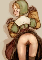 1girl aftersex against_wall anus ass blush branch_(blackrabbits) chemist_(fft) cowboy_shot cum cum_in_pussy cumdrip eyebrows female final_fantasy_tactics long_sleeves no_panties open_mouth saliva shadow sleeves solo tears uncensored