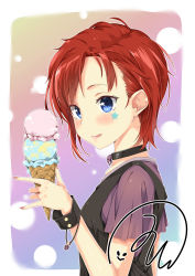 1girl :> bangs blue_eyes blush bracelet choker food from_side gradient_background highres holding ice_cream ice_cream_cone idolmaster idolmaster_million_live! jewelry julia_(idolmaster) licking_lips mishin_(mbmnk) nail_polish punk red_hair short_hair short_sleeves signature skull solo standing star swept_bangs tongue tongue_out vest wrist_cuffs