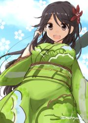 1girl amagi_(kantai_collection) breasts brown_eyes brown_hair camouflage from_below hair_between_eyes japanese_clothes kantai_collection kimono long_hair looking_at_viewer mashayuki mole mole_under_eye obi open_mouth ponytail sash solo wide_sleeves