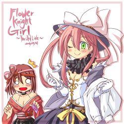 2girls blush breasts cleavage flower_knight_girl gloves green_eyes highres multiple_girls needle one_eye_closed ouka_(shibasu) pink_hair saffron_(flower_knight_girl)