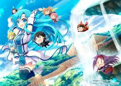 2boys 6+girls asuna_(sao) asuna_(sao-alo) blue_eyes blue_hair boots chibi dutch_angle fairy fairy_wings kirito kirito_(sao-alo) klein klein_(sao-alo) leafa lisbeth lisbeth_(sao-alo) long_hair miniboy minigirl multiple_boys multiple_girls shinon_(sao) shinon_(sao-alo) silica silica_(sao-alo) sword_art_online thighhighs tougo water waterfall wings yui_(sao) yui_(sao-alo) yuuki_(sao)