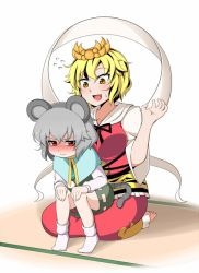 2girls animal_ears black_hair blonde_hair blush capelet commentary_request dress fang flying_sweatdrops gem grey_dress grey_hair hair_ornament jewelry long_sleeves mouse_ears mouse_tail multicolored_hair multiple_girls nazrin necklace open_mouth pendant red_dress red_eyes rinmei shawl sitting sitting_on_lap sitting_on_person smile tail tiger_print toramaru_shou touhou two-tone_hair yellow_eyes