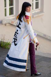 bangs black_hair cosplay epaulettes jacket marine nico_robin one_piece photo purple_pants shigeako sunglasses uniform