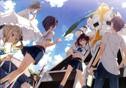 2boys 4girls :d absurdres airi_(robotics;notes) black_skirt blonde_hair blouse brown_hair daitoku_junna day dress dutch_angle from_behind grey_hair hidaka_subaru highres huge_filesize kantoku koujiro_frau lens_flare long_hair mecha midriff miniskirt multiple_boys multiple_girls open_mouth parasol pleated_skirt ponytail robotics;notes school_uniform senomiya_akiho serafuku short_hair skirt sky smile twintails umbrella white_blouse yashio_kaito