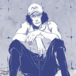 1boy baseball_cap hat kuzan_(aokiji) marine monochrome one_piece sitting solo tank_top younger