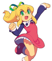 1girl blonde_hair blush boots dress full_body green_eyes hair_ribbon long_hair metata open_mouth ponytail red_skirt ribbon rockman rockman_(classic) roll skirt smile solo