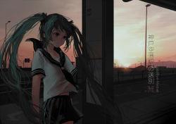 1girl aqua_eyes aqua_hair bus_stop city cityscape hatsune_miku long_hair mzi neckerchief outdoors pleated_skirt scenery school_uniform serafuku short_sleeves skirt sky solo twintails very_long_hair vocaloid wind