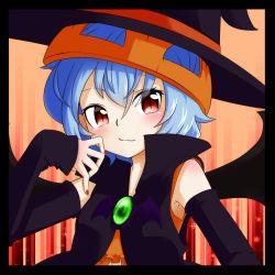 1girl alternate_costume bat_wings blue_hair halloween hat kameyan red_eyes remilia_scarlet short_hair smile solo touhou wings witch_hat
