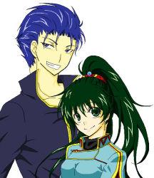 1boy 1girl blue_eyes blue_hair dress fire_emblem fire_emblem:_rekka_no_ken green_eyes green_hair hector lyndis_(fire_emblem) ponytail shirt