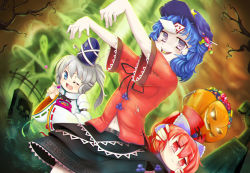 3girls beret blouse blue_eyes blue_hair blush bow breasts candy cape chinese_clothes draw-till-death fang ghost grass grave graveyard hair_bow halloween hands hat hat_ribbon high_collar japanese_clothes jiangshi juliet_sleeves kariginu long_hair long_sleeves looking_at_viewer midriff miyako_yoshika mononobe_no_futo multiple_girls navel ofuda one_eye_closed open_mouth outstretched_arm outstretched_arms ponytail puffy_sleeves pumpkin red_eyes red_hair ribbon sekibanki shirt short_hair short_sleeves silver_hair skirt solo standing star teeth torn_clothes touhou tree tunic wide_sleeves zombie_pose