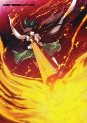 1girl absurdres arm_cannon fire highres long_hair reiuji_utsuho scan solo tokiame touhou weapon