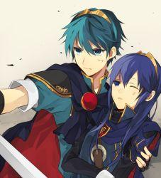 1boy 1girl angry blue_eyes blue_hair fire_emblem fire_emblem:_kakusei fire_emblem:_monshou_no_nazo holding long_hair lucina marth seoto short_hair super_smash_bros. sword weapon