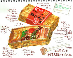 artist_name artist_request chicken_(food) chopsticks colored colored_pencil_(medium) commentary_request dated food graphite_(medium) nagoya_cochin no_humans original rice simple_background sketch sketchbook text tori_meshi traditional_media watercolor_(medium) white_background