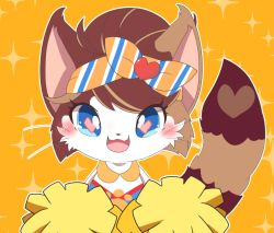 1girl animal_ears artist_request blue_eyes blush bow brown_hair cat cat_busters cat_ears cat_tail cheerleader furry hairband happy heart heart-shaped_pupils looking_at_viewer open_mouth orange_background pom_poms short_hair simple_background smile solo tail teeth whiskers
