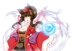 1girl :d ahri alternate_costume alternate_hairstyle animal_ears black_hair breasts cleavage dress energy_ball fox_ears fox_girl fox_tail frilled_sleeves frills hair_ornament hair_up highres league_of_legends long_sleeves medium_breasts multiple_tails open_mouth red_dress sleeves_past_wrists smile tail wide_sleeves yellow_eyes yuneeee