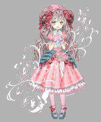 1girl artist_name dress flower full_body gloves grey_background grey_eyes grey_hair grey_shoes hair_flower hair_ornament hands_together hat horns konataeru long_hair looking_at_viewer open_mouth personification pink_dress pink_gloves pink_hat pink_legwear sheep_horns shoes solo spring_(season) standing