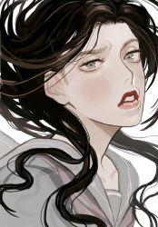1girl black_hair collarbone eyebrows eyelashes frown grey_eyes jojo_no_kimyou_na_bouken lipstick long_hair makeup portrait raised_eyebrow red_lipstick school_uniform serafuku solo supocon wavy_hair yamagishi_yukako
