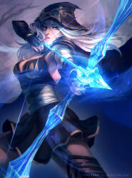 1girl arrow ashe_(league_of_legends) black_dress blue_eyes boots bow_(weapon) breasts cape dress fingerless_gloves gloves glowing glowing_weapon hood league_of_legends long_hair marisa_oh medium_breasts pauldrons silver_hair solo thigh_boots thighhighs watermark weapon web_address