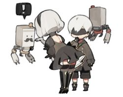 ! black_boots black_dress black_hairband blindfold boots chibi dress feather-trimmed_sleeves hairband juliet_sleeves long_sleeves nier_(series) nier_automata pod_(nier_automata) puffy_sleeves short_hair silver_hair simple_background starshadowmagician thighhighs thighhighs_under_boots yorha_no._2_type_b yorha_no._9_type_s