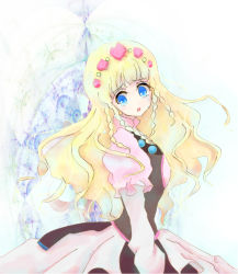 1girl blonde_hair blue_eyes braid breasts dress flower long_hair open_mouth rose shirley_fennes tales_of_(series) tales_of_legendia tears