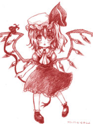1girl ascot blush bow flandre_scarlet hat hat_bow laevatein mob_cap monochrome open_mouth solo touhou wings