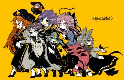 6+girls animal animal_ears animal_on_hand annoyed bangs blonde_hair boots bow braid breast_press brown_hair bubble_skirt capelet chinese_clothes detached_sleeves dress expressionless eyes_closed fox_mask gradient_hair green_eyes green_hair grey_eyes grey_hair hair_between_eyes hair_bow hakurei_reimu hata_no_kokoro height_difference hijiri_byakuren hong_meiling japanese_clothes kimono komeiji_koishi layered_dress long_hair long_skirt long_sleeves mask minigirl mouse mouse_ears mouse_tail multicolored_hair multiple_girls nazrin pants pink_hair puffy_long_sleeves puffy_sleeves purple_eyes purple_hair red_eyes red_hair shiny shiny_hair shirt shoes side_slit simple_background skirt sleeveless sleeveless_shirt smile sparkle sukuna_shinmyoumaru sweatdrop tail third_eye touhou turtleneck twin_braids very_long_hair wide_sleeves yellow_background yellow_eyes yt_(wai-tei)