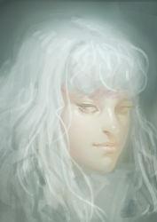 1boy absurdres androgynous berserk griffith gunbig highres long_hair realistic silver_hair solo wavy_hair white_hair