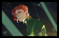 1boy gakuran jojo_no_kimyou_na_bouken kakyouin_noriaki purple_eyes red_hair school_uniform solo thanatos-ta