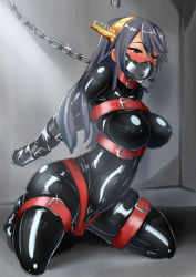 1girl armbinder ayuayu_(shouyu_no_sato) bdsm belt bondage bound breasts chains collar dildo gag gagged haruna_(kantai_collection) headband helpless kantai_collection large_breasts latex long_hair muzzle_gag rubber slave tears