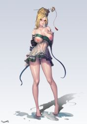 1girl areolae arm_strap artist_name bare_shoulders barefoot blade_&_soul blonde_hair blue_eyes braid breasts cameltoe choney collarbone commentary covered_navel detached_sleeves dress french_braid full_body glasses hair_bun hair_ornament hair_stick hand_on_breast hand_on_own_chest large_breasts legs_apart lips looking_at_viewer mole mole_on_breast nipples one_breast_out panties pantyshot pantyshot_(standing) parted_lips pink_lips red-framed_eyewear see-through semi-rimless_glasses shadow short_dress sidelocks solo standing strapless strapless_dress tassel underwear wet wet_clothes wide_sleeves