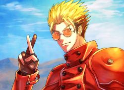 1boy blonde_hair crossed_fingers gloves male_focus mole shingo_(picturepuzzle) solo sunglasses trigun v vash_the_stampede