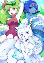 3girls all_fours alolan_vulpix animal_ears animalization arm_up armpits artist_name ass bare_shoulders blue_eyes blue_hair blue_skin blush bottomless braid breasts cleavage collarbone flower fox_ears fox_tail furry gradient_eyes grass green_eyes green_hair hair_flower hair_ornament hairband hand_up highres lillie_(pokemon) long_hair looking_at_viewer mao_(pokemon) medium_breasts multicolored_eyes multiple_girls navel open_mouth outdoors paws pink_eyes pokemon pokemon_(creature) pokemon_sm popplio purple_flower shiny_skin shirt short_hair signature sky sleeveless sleeveless_shirt slugbox small_breasts smile standing steenee suiren_(pokemon) tail teeth text tubetop twin_braids underboob vulpix white_hair white_shirt white_tubetop
