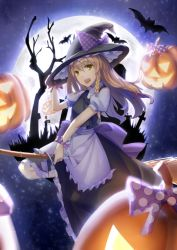 1girl absurdres apron bat blonde_hair bow braid broom broom_riding canzhajiang flying full_moon halloween hat hat_bow highres holding holding_hat jack-o'-lantern kirisame_marisa long_hair looking_at_viewer moon night night_sky open_mouth polka_dot polka_dot_bow puffy_short_sleeves puffy_sleeves pumpkin shirt short_sleeves skirt skirt_set sky solo tombstone touhou tree witch_hat yellow_eyes
