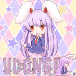 1girl animal_ears arms_up blazer blush bunny_ears character_name chibi dress_shirt eyes_closed hand_to_own_mouth jacket kneehighs long_hair long_sleeves necktie on_floor open_mouth purple_hair red_eyes red_necktie reisen_udongein_inaba shirt shoes sitting skirt skirt_lift skirt_pull sleeping solo star touhou very_long_hair white_legwear white_shirt