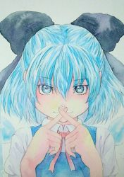 1girl :3 blue_eyes blue_hair bow cirno crossed_fingers graphite_(medium) hair_bow highres ice ice_wings looking_at_viewer neck_ribbon ribbon short_hair solo touhou traditional_media upper_body watercolor_(medium) wings yuyu_(00365676)