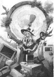 1girl broom computer cuffs eho_(icbm) hat hat_ribbon highres kirisame_marisa leaf monitor monochrome portal_(object) ribbon ruins shoes sitting socks solo touhou window witch witch_hat wrist_cuffs