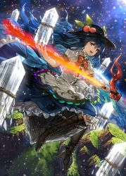 1girl benitama blue_hair boots bow cross-laced_footwear dress dutch_angle food frills fruit full_body hat hinanawi_tenshi lace-up_boots layered_dress long_hair looking_at_viewer open_mouth peach puffy_sleeves red_eyes rock rope shimenawa short_sleeves sitting smile solo sword_of_hisou touhou