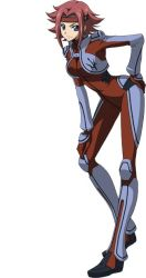 1girl blue_eyes bodysuit breasts code_geass full_body hand_on_hip kallen_stadtfeld large_breasts looking_at_viewer official_art red_hair short_hair simple_background skin_tight smile solo standing super_robot_wars super_robot_wars_x-omega white_background