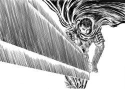 1boy berserk dragonslayer_(sword) guts huge_weapon monochrome nemo_(nameless920) simple_background solo sword weapon