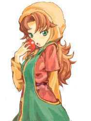 1girl blush curly_hair dragon_quest dragon_quest_vii green_eyes hat hood long_hair looking_at_viewer maribel open_mouth red_hair simple_background solo
